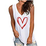 Masrin Frauen Weste V-Ausschnitt Liebe Herz Druck Shirts Sommer einfarbig lose Tanktops lässig ärmellose Bluse (XL,#B Weiß)