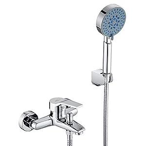 Auralum Set de ducha de bañera classic con ducha de mano de 5 funciones, set de ducha con sistema de ducha sin…