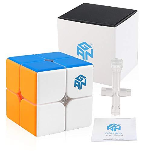 Coogam GAN 249 V2 2X2 Cubo de Velocidad Sin Pegatina Gan249 2 y 2 Cubo Magico Puzzle 2x2x2 Speed Cube Rompecabezas Juguete para Niños Adultos