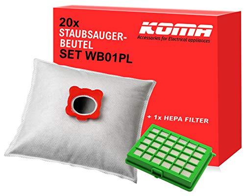 Koma Advantageous - Juego de 20 Bolsas para aspiradora Rowenta Compacteo, City Space, Mini Space, 1 Filtro Hepa, Soporte de plástico