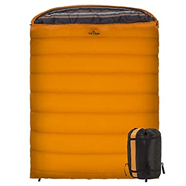 Teton Sports Mammoth 0F Double-Wide Sleeping Bag; Warm and Comfortable; Double Sleeping Bag Great for Family Camping; Compression Sack Included; Orange
