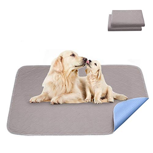 Mecaly Reusable Dog Pee Training Pads - Washable Waterproof Pads with Non Slip for Puppy Cats Pack of 2 (18