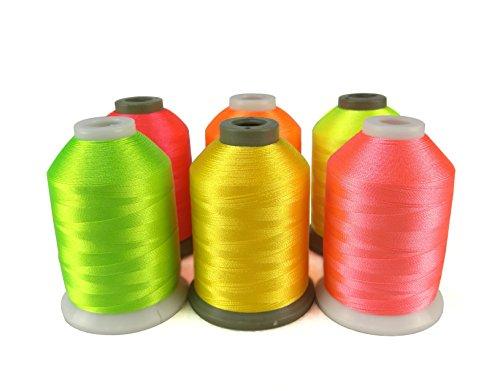 Simthread 6 Neon Farben Polyester Maschinen Stickgarn - 1000 Meter, für Brother, Babylock, Bernette, Janome, Kenmore, Singer, W6 N 5000 Stickmaschine und Nähmaschine