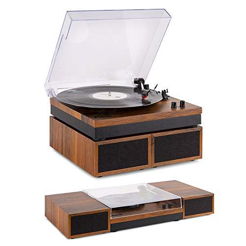 FENTON RP165 Giradiscos, reproductor de vinilos LP Vintage Retro madera clara con Altavoces