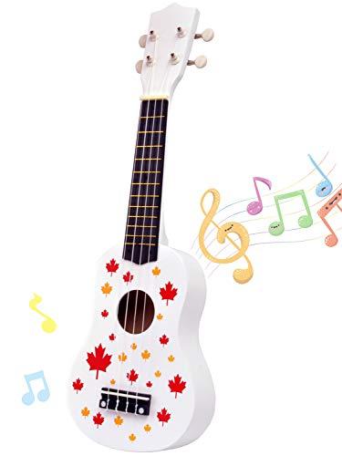 ギター おもちゃ ミニ ウクレレ 4弦 初心者 こども用 UKULELE音楽の楽器玩具 知育玩具 手製で木製 子供用 かわいい プレゼント (白)