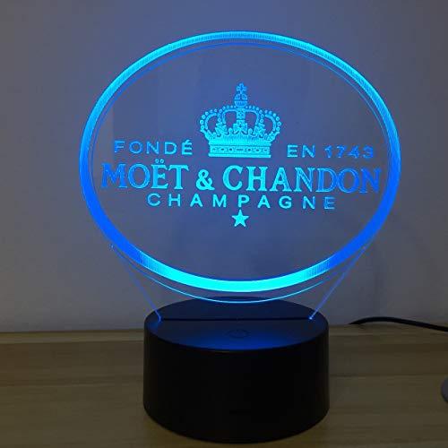 Moet Et Chandon 3D LED Nachtlicht Tischlampe Kinder Geschenk Kunden Freund Baby Nachtlicht USB oder Powered Office Dekorative Lampe