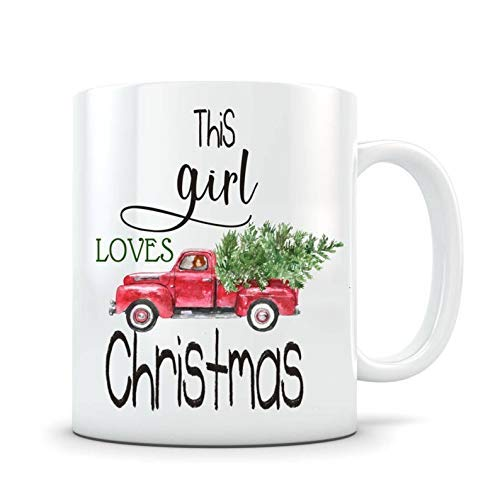 Old Truck with Tree 11 Oz Ceramic Mug Funny Novelty Coffee Mug Christmas Presents Best Christmas Idea New Year Holiday for Family Friends Coworkers Men Women