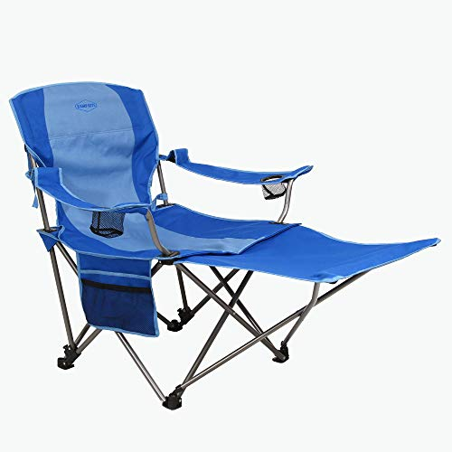 Kamp-Rite Outdoor Camping Furniture Beach Patio Sports Folding Lawn Chair with Detachable Footrest and Cup Holders, Blue