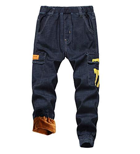 LAUSONS Jungen Cargo Jeanshose Thermohose Kinder Gefütterte Winterhose Jeans Jogginghose mit Gummizug Blau Größe 130/116-122 (5-6 Jahre)