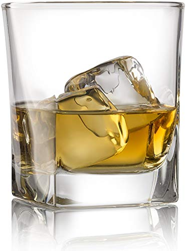 RED ROCKS Double Old Fashioned Whiskey Glass (Set of 4) with Granite Chilling Stones – 10