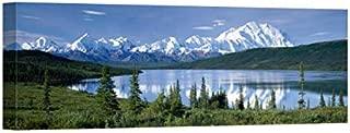 Easy Art Prints Panoramic Images's 'Mountain Range, Lakeside, Mt McKinley, Wonder Lake, Denali National Park, Alaska' Canvas Art 36 x 12