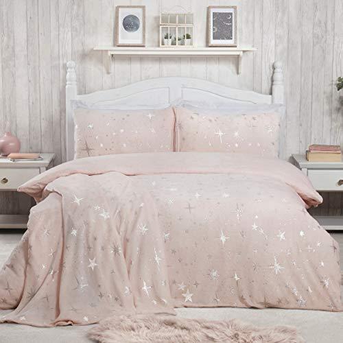 Sleepdown - Set di biancheria da letto con federe, 200 cm x 200 cm, motivo stelle sparse di lusso, colore: Rosa