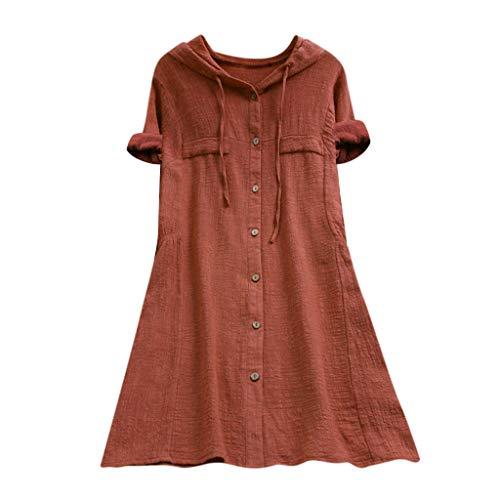 Zegeey Damen Kurzarm Oberteil T-Shirt Rundhals Ausschnitt Baumwolle Und Leinen Cat Drucken Asymmetrischer Saum Lose LäSsige Bluse Hemd Shirt Blusen Locker Basic Tops(B2-Kaffee,L)