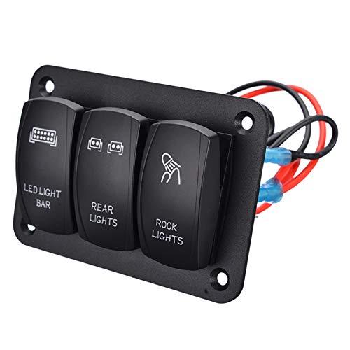 YULUBAIHUO 2 panel de interruptor de rockero de pandillas Panel de control del interruptor de alterno de 5 pines azul LED LED 12 / 24V Fit para barco Auto Car Marine ATV UTV Cosible ( Color : Black )