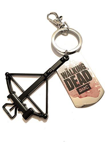 Giuly's Creations Schlüsselanhänger aus Metall, nickelfrei, der Walking Dead inspiriert, Zombie Armbrust, Gravurplatte Laser Rick Grimes Fantasy Serie TV Pop Cosplay