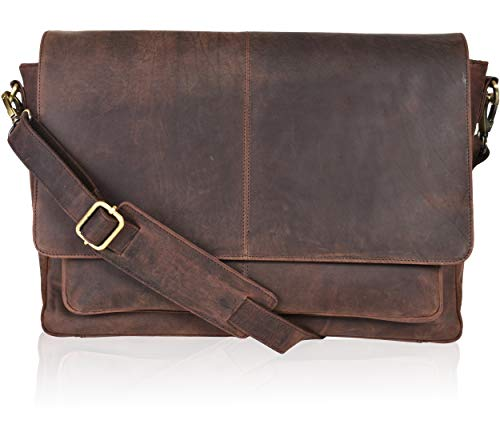 Leather Briefcase For Men Adjustable Satchel Crossbody Messenger Organizer Bag
