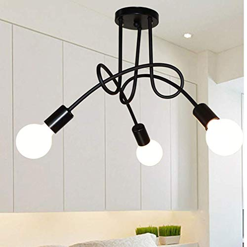 Jbsceen Moderne Plafonniers Lampe de plafond Spotlight Métal Lustres Noir 3 Lampe E27 pour loft couloir chambre, sans ampoule