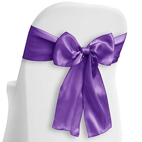 Lann's Linens - 10 Elegant Satin Wedding/Party Chair Cover Sashes/Bows - Ribbon Tie Back Sash - Purple