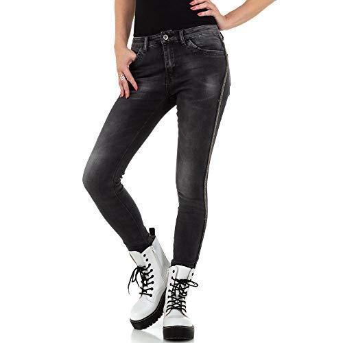 Ital Design Damen Kontraststreifen Skinny Jeans Redial Denim Paris Gr. XS/34 Schwarz