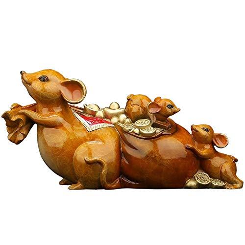 YUXINYAN Decoración del Hogar 2020 Año Chino del Zodiaco de la Rata Todos Cobre ratón Adornos con el Feng Shui de Colección Figuras de los Regalos Decor Estatua Estatuas Decorativas