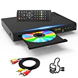 Tojock Blu Ray DVD Player DTS Sound Effect Upscaling TV CD DVD 1080P Player with 5ft HDMI AV Cables, Built-in PAL NTSC Coaxial 2.0 USB, Blu Ray Region A/1, Non-Blu Ray Discs in Region Free, EVP-101