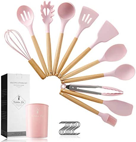 Pahajim 12PCS Silicone Cooking Kitchen Utensils Set with Holder Silicone Utensil Set for Cooking product image