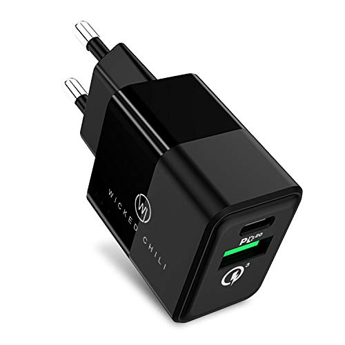 Wicked Chili 20W Cargador con Quick Charge y USB C PD - Cargador rápido Compatible con iPhone 12, Xiaomi, LG, Magsafe Charger, 20W PD 3.0 & QC 3.0 Dual Port Charging Adapter, Negro