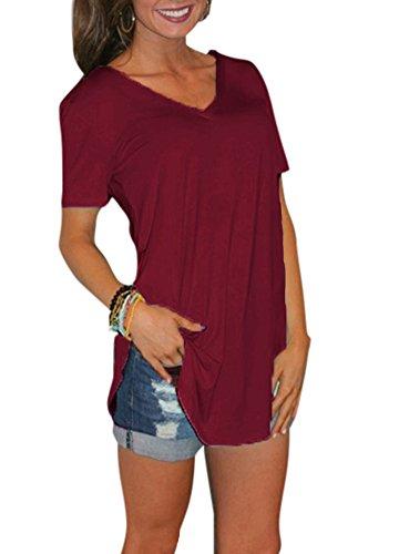 Romacci Camiseta de manga corta para mujer, color sólido, cuello en V, estilo casual [Extra Grande-Rojo]