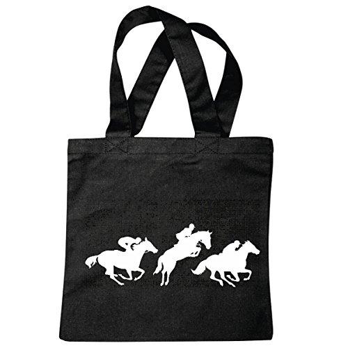 Tasche Umhängetasche Silhouette Pferde REITEN Reiter Pferdesport Pferdekopf Dressurreiten Rodeo Cowboy Springreiten Reitsport Hengst Pony Einkaufstasche Schulbeutel Turnbeutel in Schwarz