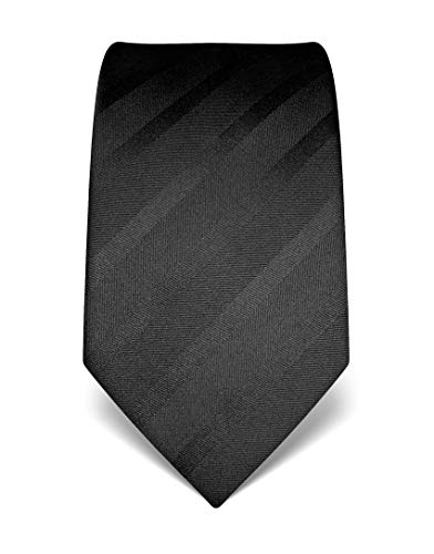 Vincenzo Boretti Herren Krawatte reine Seide Ton in Ton gestreift edel Männer-Design zum Hemd mit Anzug für Business Hochzeit 8 cm schmal/breit schwarz