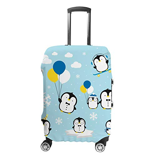 CHEHONG Suitcase Cover Luggage Cover Cute Little Penguins Blue Travel Trolley Case Protective Washable Polyester Fiber Elastic Dustproof Fits 26-28 Inch