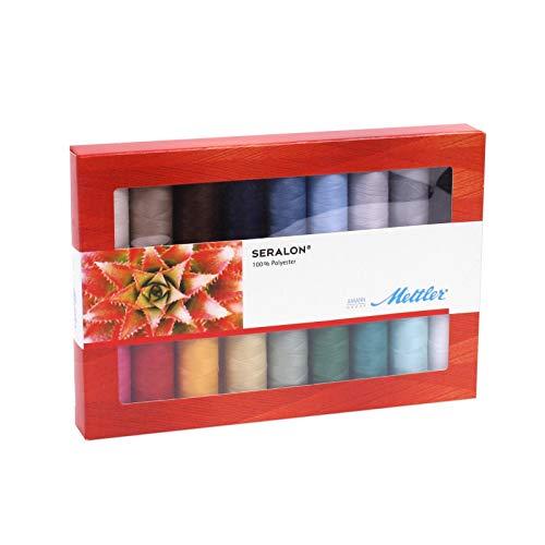 Mettler SERALON 18-delige set naaigaren: universeel garen voor naaimachine, 100% polyester, SE18-kit, 200 m per rol