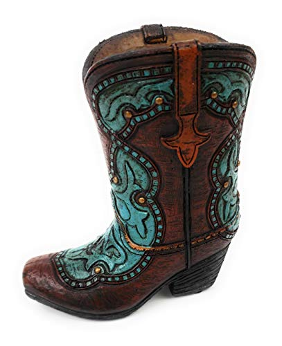Cowboy Boot Pencil Holder - Turquoise Accents