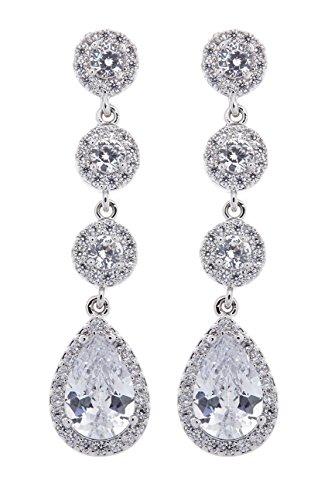 Clip en pendientes - chapado en plata con cristales claros - Maria por Bello London