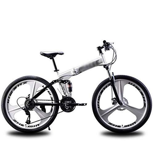 Gaoyanhang Pieghevole Mountain Bike, 26 Pollici Ruota Doppio Disco Freno Assorbimento degli Urti, 21-velocità Adulto Bici Fuoristrada (Color : White, Size : 27S)