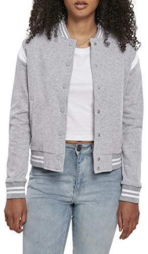 Urban Classics Damen Ladies Organic Inset College Sweat Jacket Jacken, Grey/White, L