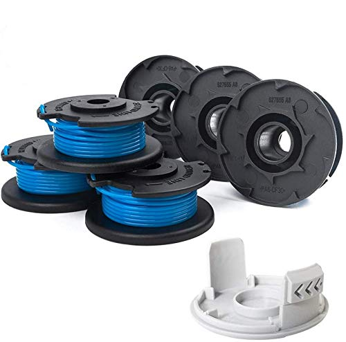 X Home String Trimmer Spool Replacement Compatible with Ryobi Auto Feed Cordless Weed Eater 18V 24V 40V, 0.065' AC14RL3A String Line (6 Spools, 1 Cap)