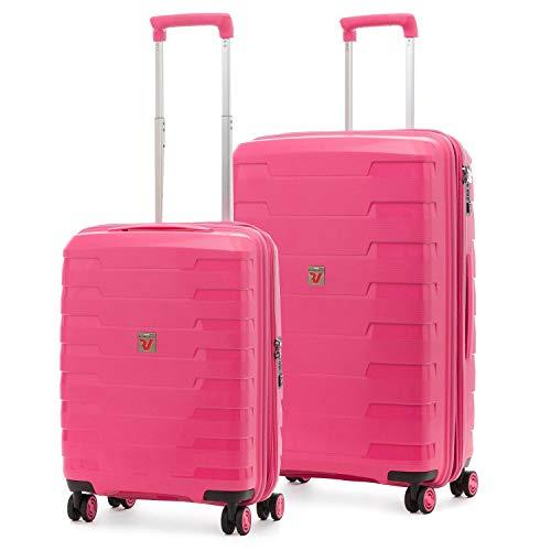 Roncato Spirit - Juego de 2 maletas rígidas con 4 ruedas, color rosa, extensibles, con cierre TSA ultraligero