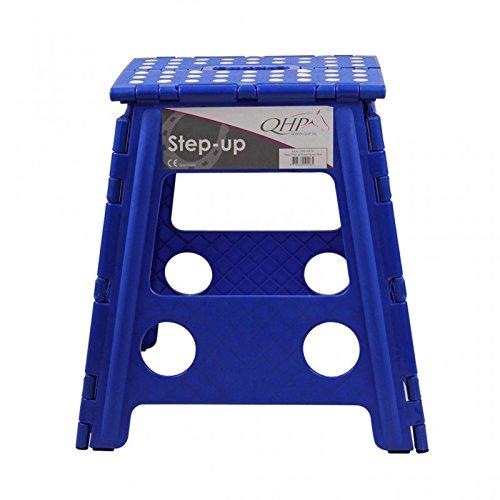 QHP Step up Hocker Aufstieghilfe Kunststoff klappbar Höhe 39 cm (Kobaltblau)