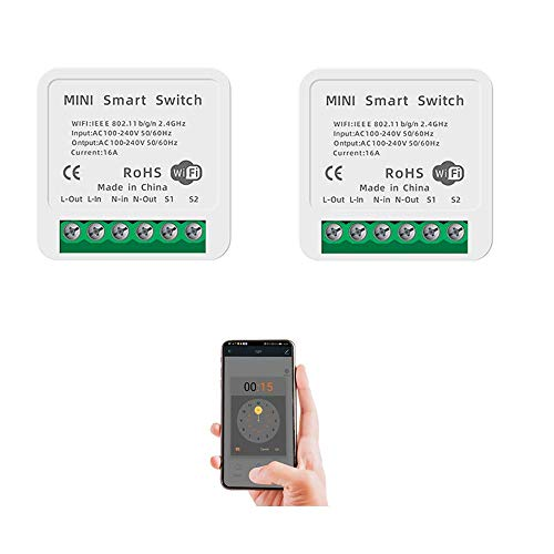 Interruptor inteligente wifi, módulo de relé, mando a distancia con Smart Life, Google Home, control por voz con Alexa, Google Assistant, 16 A (2 unidades)