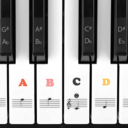 Juliet Music Piano Keyboard Stickers for keys removable,Learn to Play Piano for 88/61/54/49/37 Keys. Full Set Kids and Beginners Learning Piano, with Note Labels Instruction, No Residue