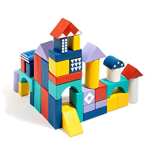 ROBUD Bausteine Holz | Bauklötze Holz | Bausteine für Kinder ab 1 Jahr