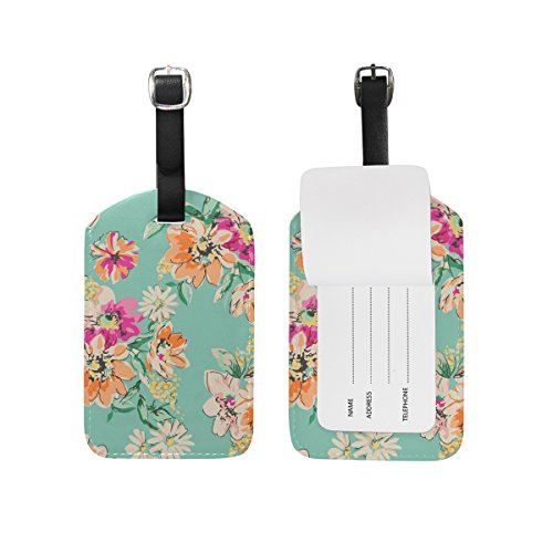 Cooper girl Watercolor Floral Flowers Luggage Tag Travel ID Label Leather for Baggage Suitcase 1 Piece