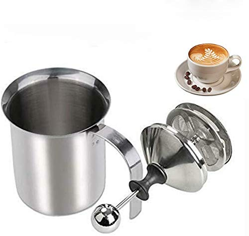 Wuudi Milchaufschäumer Manuell, 800ML Milchaufschäumer Edelstahl mit Doppel Mesh für Kaffee, Latte, heiße Schokolade Kaffee Cappuccino Foamer Creamer