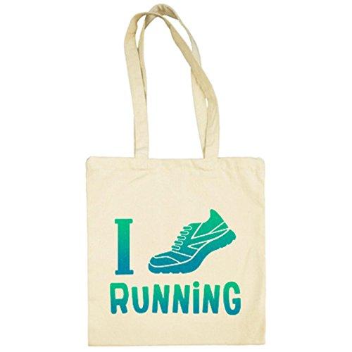 Diver Camisetas Bolsa de tela I Love Running para runners - Beige, 38 x 42 cm