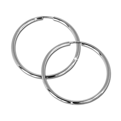 SilberDream Ohrringe 50mm Damen-Schmuck 925er Silber Creolen Simply SDO071