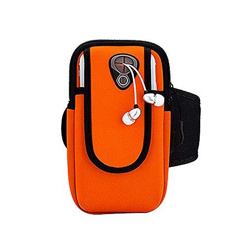 Brassard Sport Téléphone iPhone Jusqu'à 6.0 Pouces Universel Brassard de Course Ajustable Sangle d'extension Écologique Porte-Clés Poche de Carte-Touch ID (B#Orange)