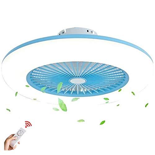 Ouuily LED Luz Ventilador Invisible Moderno Ventilador de Techo con Lámpara Ultra Silencioso Luz de 3 Bandas Velocidad de Viento Ajustable con Control Remoto para Dormitorio,Azul