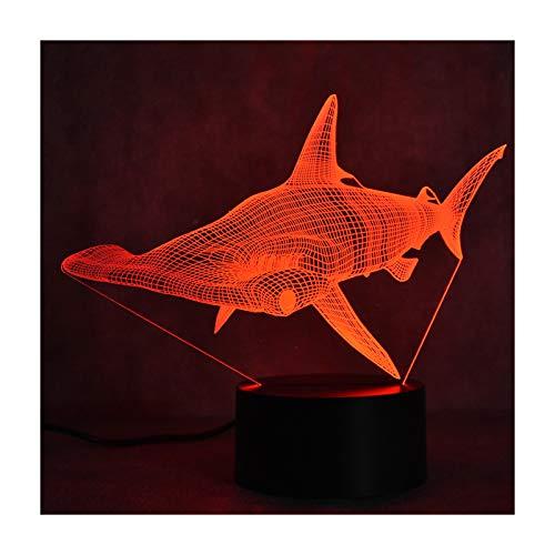 TIDRT Lámpara De Escritorio Led 3D, Decoración Creativa, Lámpara De Tiburón USB, Lámpara De Noche, Lámpara De Noche