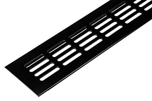 Lüftungsgitter Tür-Gitter schwarz Abluftgitter Aluminium | Belüftungsgitter eckig | 500 x 60 mm | Möbel-Gitter Alu für Heizung - Wand uvm. | MADE IN GERMANY | 1 Stück - Lüftungsblech mit Schrauben